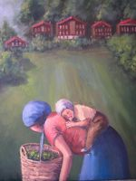 woman with child harvesting by fusunyeremyan