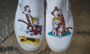 Calvin and Hobbes Custom Shoes by Kyg0n
