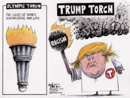 Cartoon Of The Day 6-8-16 - Trump Racism by H4Grimms