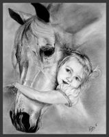 Little girl and Arabian horse by Tobara