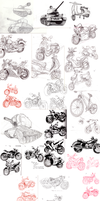 Tanks and Motorcycles Sketchdump by Ric-M