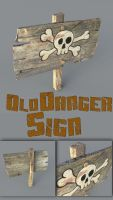 Old Wooden Danger Sign Medium poly by sicklilmonky