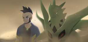 Art Trade: Mega Tyranitar and Rey by All0412