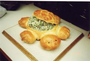 Bread Turtle and Spinach Dip by Beloved-Cyst