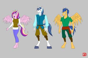 Shining Armor And Cadence And Flash Sentry by lordvader914