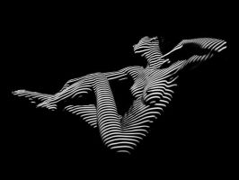 0043-DJA BW Zebra Striped Nude Woman Abstract Art by artonline