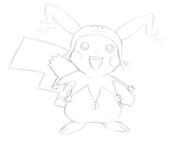 Pikachu X Frost costume [Sketch] by V-a-a-N