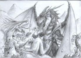 Dragon fight by Clivelee