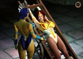 Teela vs. Evil-Lyn 09 by Uroboros-Art