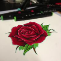 semi realistic rose tattoo design by JakeShunt