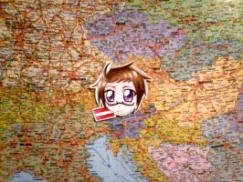 Austria-san in the map by SariDell