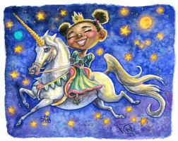 Princess on a Unicorn by feliciacano