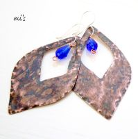 Copper Earrings with Royal Blue Crystals by IoannaEvans