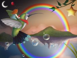 Land of Hummingbirds n Bubbles by lizzy1e