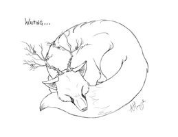 Tree Fox - Waiting by Marcynuk