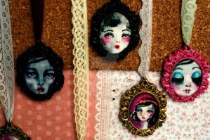 miniature paintings with lace cord by twilighttostarlight