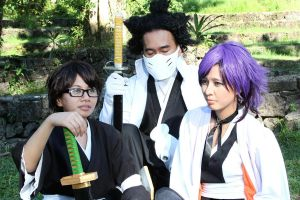 Aizen, Tousen and Yoruichi by akagii2004