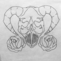 demon skull with roses by bethxbeth