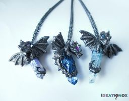 Little Dragons on Crystals (necklaces) by Ideationox