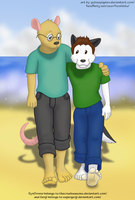 Syndrome and Genji on the beach by GuineaPigDan