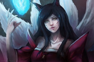 League of Legends: Ahri by darkshia