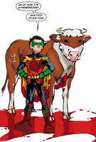 Bat-Cow and Robin by teebuster