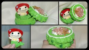 Tiny mermaid in trinket box by oywiththeplushies