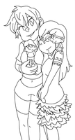 Lineart:: Girls and Their Smurfs by VengefulNation