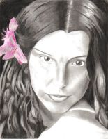 Bosnian Girl with Pink Flower by Fring
