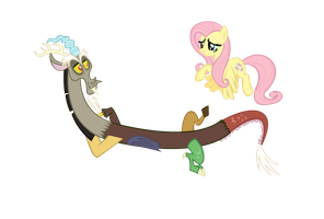 New Roommate (Discord and Fluttershy Vector) by ShadowWeaver97