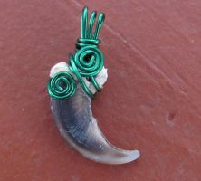Evergreen Forest Wolf Claw Pendant by MorRokko