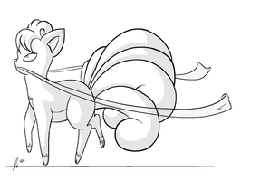 Vulpix with Ribbon Lines by jaclynonacloudlines
