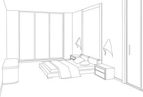 Vector trace - Bedroom lineart by hatirrisworldproject