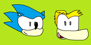 Sonic and Rayman by Forestarr