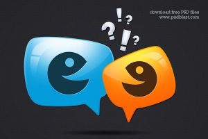 Glossy Discussion Icon (PSD) by psdblast