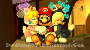Kitty Cuddles with Mario by BradMan267