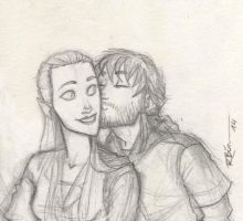 Kili and Tauriel sketch by CaptBexx