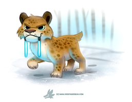 Daily Paint #1259. Light Sabre-Tooth Tiger by Cryptid-Creations