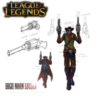 LoL : High Noon Lucian skin Model sheet by Sword13