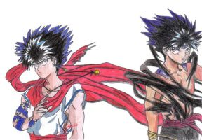 2 Hiei with different outfits by Ki0
