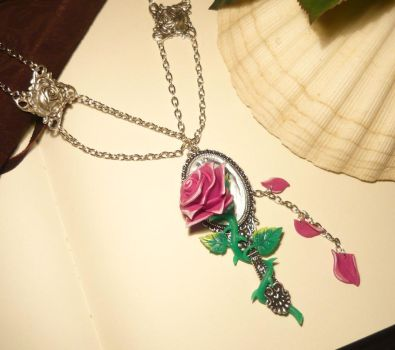 The Beauty and the Beast - Enchanted Rose Necklace by Ganjamira