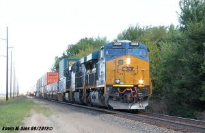 Brand New CSXT 3038 leads Q007 09 Intermodal 62mph by EternalFlame1891