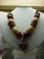 Copper, Wooden Amethyst Necklace by TDGG
