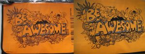 Shoulder Bag Doodle Art - BE AWESOME by philweschen