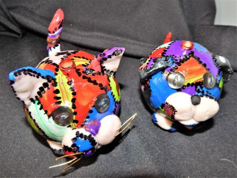 Calico Cat and Patchwork Pup 2 (front and top) by metalpug
