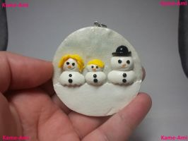 Snowman Family Ornament by Kame-ami