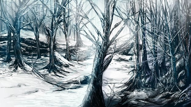Snowy Forest - Concept Art by DeboraPinto