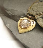 Look into my Ticking Heart - Steampunk Necklace by byrdldy