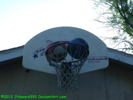 Two basketballs stuck at the same time. (OC) by JHoward393