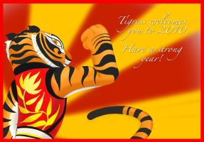 Happy 2010, Tigress Card by Cearius